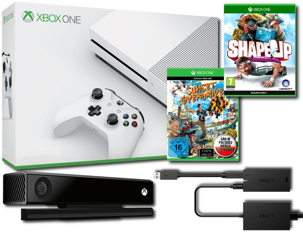 Konsola Xbox One S 500 GB + Kinect 2.0 + Adapter + Shape Up + Sunset Overdrive PL